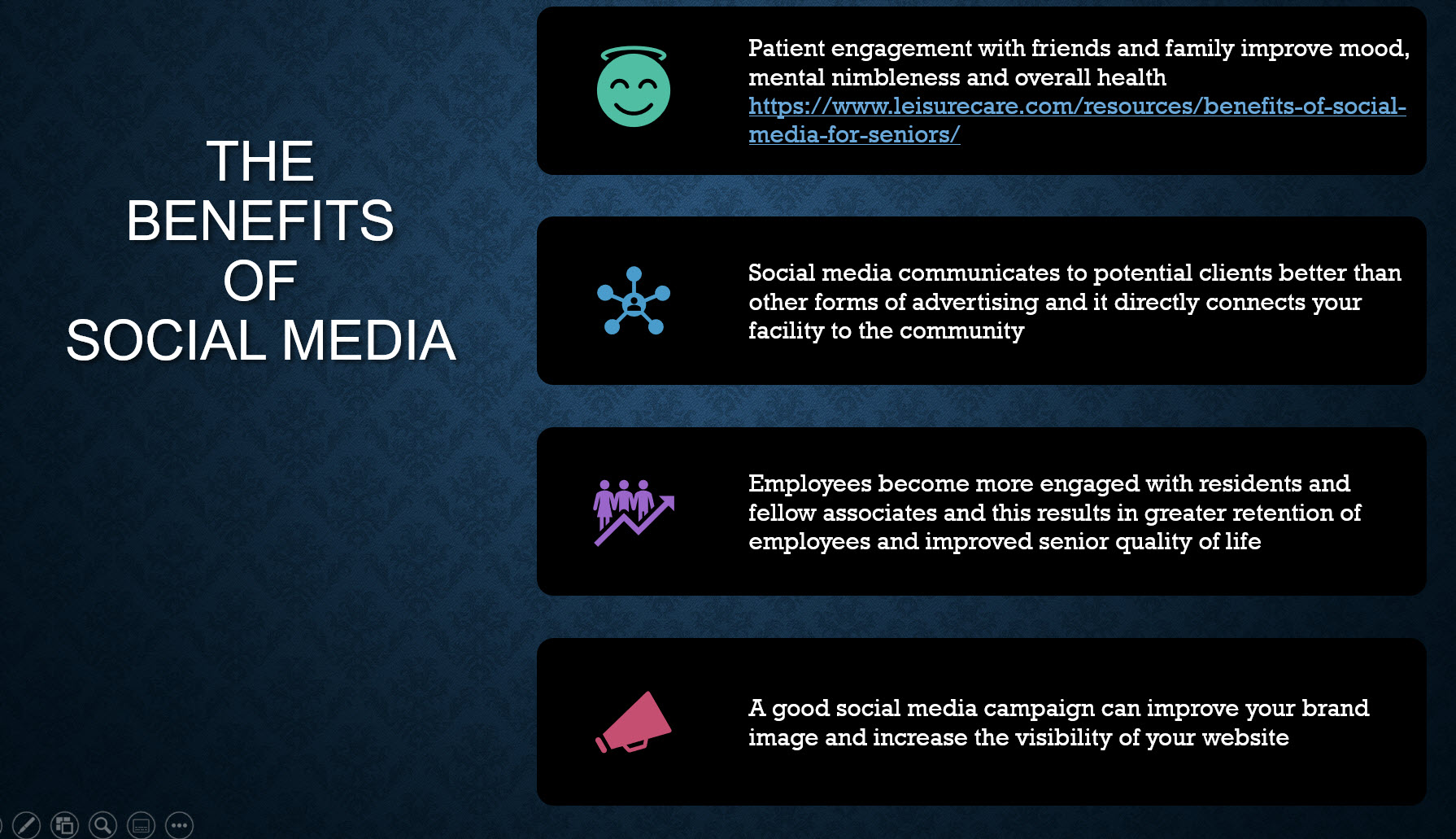 Benefits of social media for senior heath facilities and homes