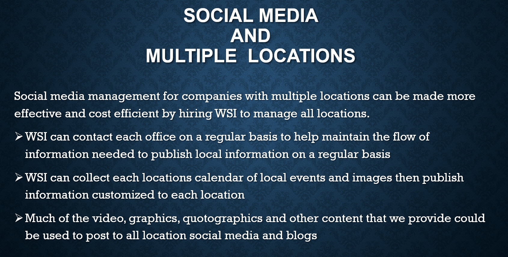 Managing multiple senior living homes and facilities locations with Social Media